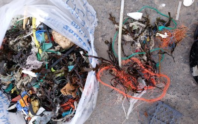 Plastics and tyres amongst Portelet Beach Clean litter